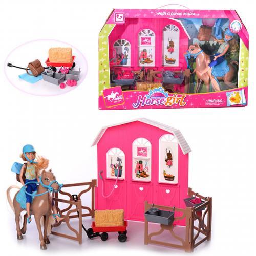Кукла 29см, лошадь17см, конюшня,аксессуары, в кор, K899-56