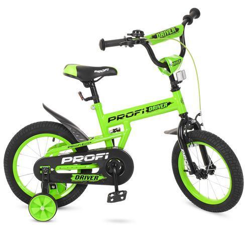 Велосипед детский PROF1 14д. Driver, салатовый,доп., L14113