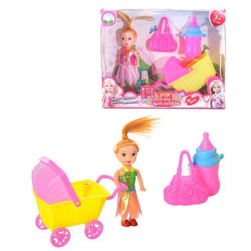 Кукла 600-38 (108шт) 10см, коляска, бутылочка, сум, 600-38