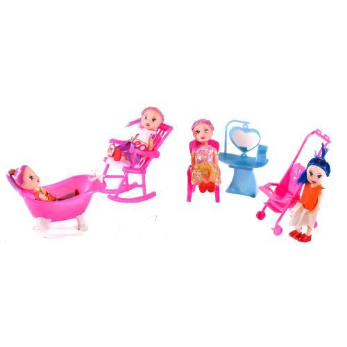 Кукла 9905-86-88 B (400шт) 10см, мебель, 4 вида, в, 9905-86-88 B