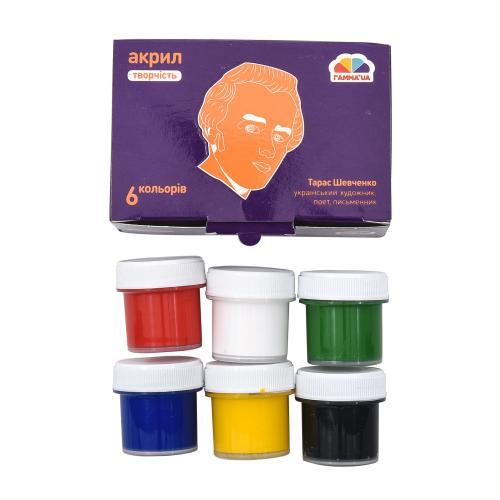 Краски акриловые, матовые, 6 цветов (цена за упаковку), GA-400501