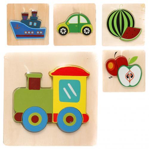 Деревянная игрушка Пазлы MD 1271 (90шт) фрукты/тра, MD 1271
