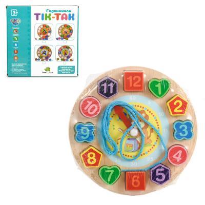 Деревянная игрушка Часы MD 1270 (80шт) 18см, рамка