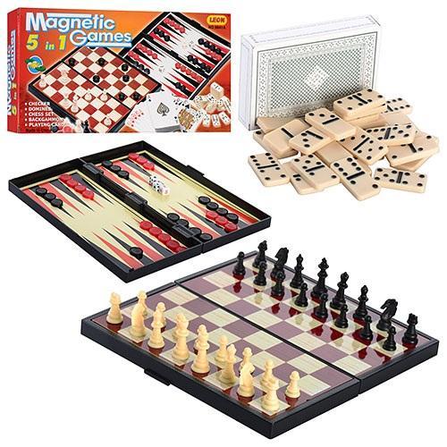 Шахматы 9841 А (48шт) 5 в 1, в кор-ке, 25-13-3,5см, 9841 А