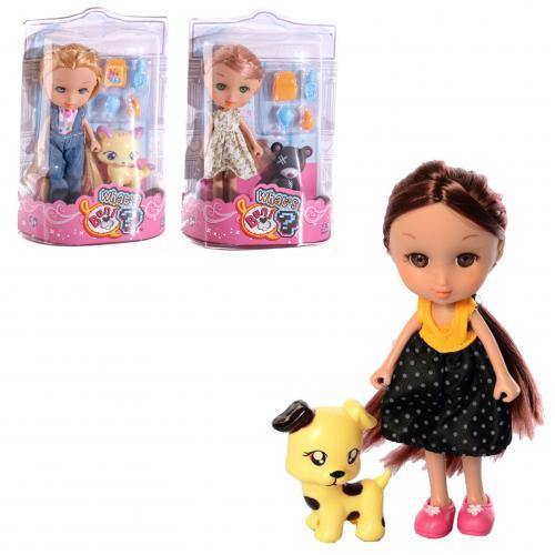 Кукла 86010 (144шт) 16см, животное6см, аксессуары, 86010