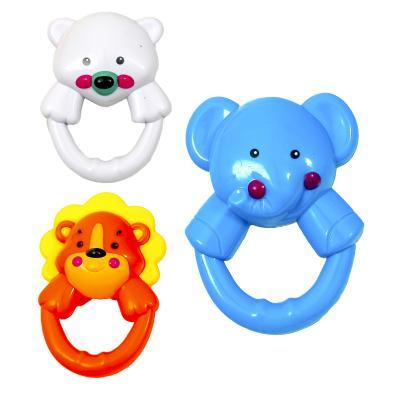 Подвеска-погремушка на коляску (мишка, лев, слон)