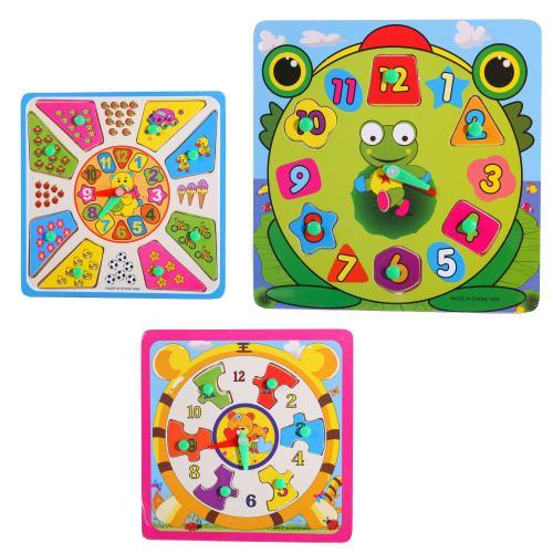 Деревянная игрушка Часы MD 2035 (150шт) 6видов, в, MD 2035