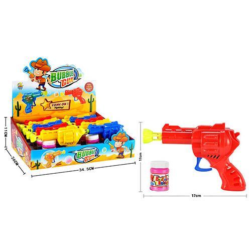 Мыльные пузыри пистолет, запаска,10шт(3цвета) в д, 929