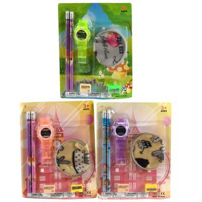 Канцелярский набор (карандаши, резинка, часики, кошелёк, точилка) (цена за упаковку)