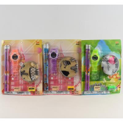 Канцелярский набор (карандаши, резинка, часики, кошелёк, точилка) (цена за упаковку), 0142-4