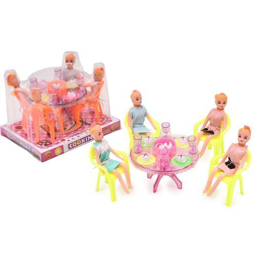Столовая A8-851 (90шт) стол,стулья, кукла4шт,посуд, A8-851