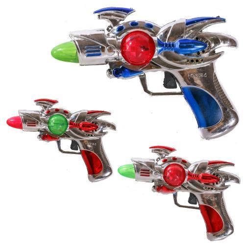 Пистолет 3186 (168шт) 16см, звук, свет, 2цвета,на, 3186