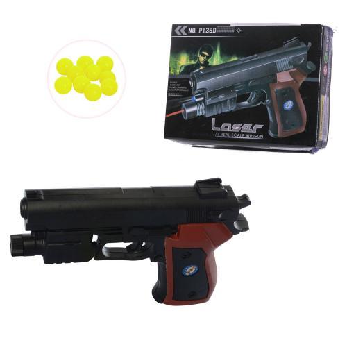 Пистолет 135D (72шт) на пульках, 16см, лазер, свет, 135D