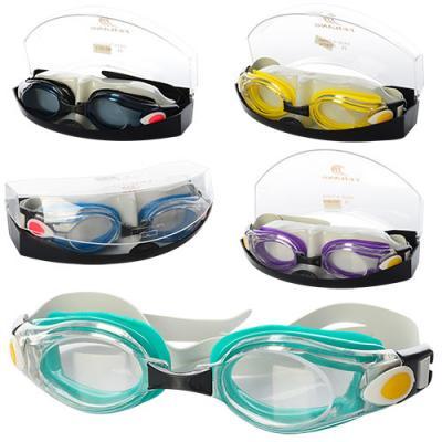 Очки для плавания регулир. ремешок, 5цветов, в футл