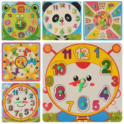Деревянная игрушка Часы MD 0959 (240шт) рамка-вкла