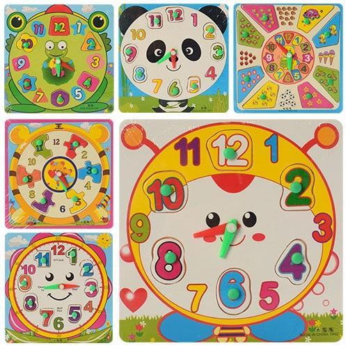 Деревянная игрушка Часы MD 0959 (240шт) рамка-вкла, MD 0959