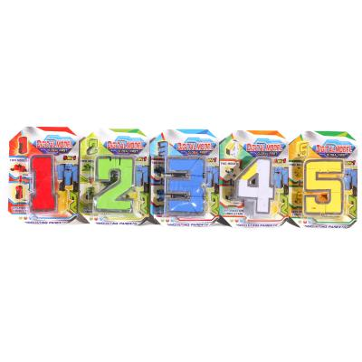 Трансформер 168-105ABCDE (192шт) робот+цифра, 5вид, 168-105ABCDE