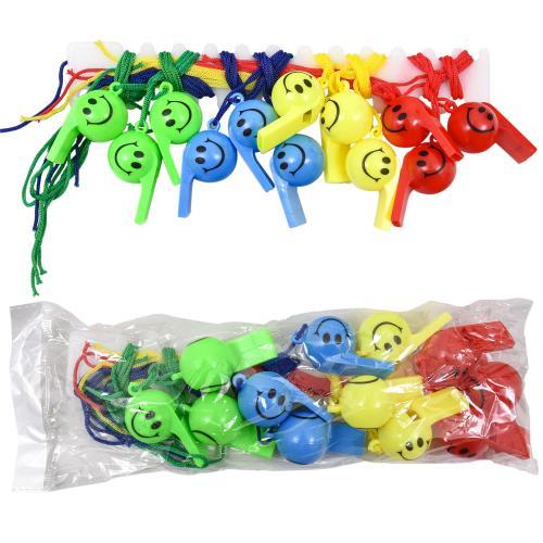 Свисток MS 0882 (1200шт) пластик, со шнуром, 4 цве, MS 0882