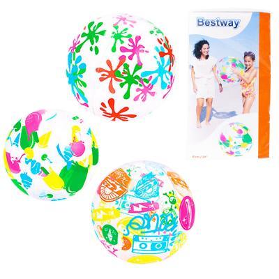 BW Мяч 61см, 3вида, в кульке, 15,5-31-1см