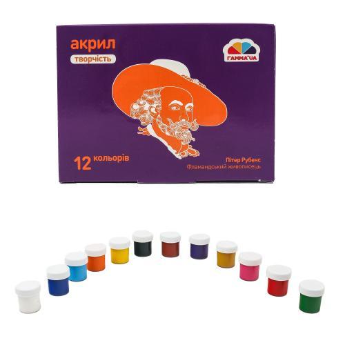 Краски акриловые, матовые, 12 цветов (цена за упаковку), GA-400504