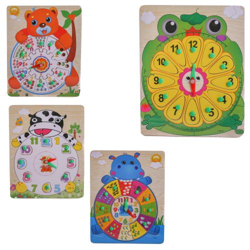 Деревянная игрушка Часы MD 2036 (150шт) животные,р, MD 2036
