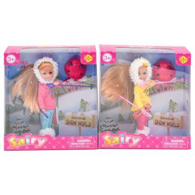 Кукла DEFA 8310 (48шт) 13,5см, лыжи, обувь, шлем