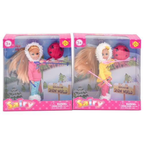Кукла DEFA 8310 (48шт) 13,5см, лыжи, обувь, шлем, 8310