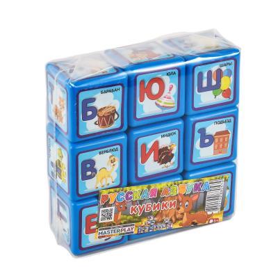 Кубики азбука (60мм, 9 деталей), пак. пвх