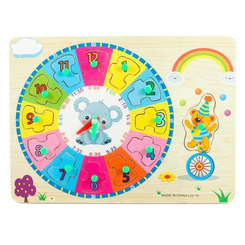 """Деревянная игрушка """"Часы + вкладыши"""", L22-19"""