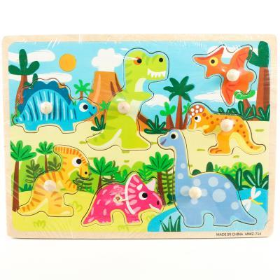 """Деревянная игрушка """"Вкладыши - динозаврики"""", MWZ-714"""