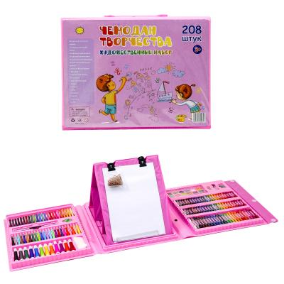 Чемодан творчества, 208 предметов, розовый
