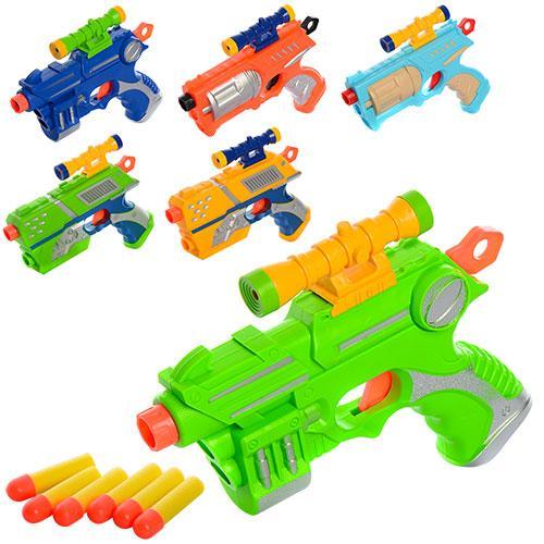 Пистолет 19,5см, пули-присоски6шт, 3вида, в кульке, 2016-1F-2F-3F