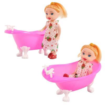 Кукла 8666-3 (360шт) 10см, с ванночкой 10-5,5-5,5с