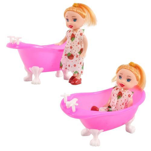 Кукла 8666-3 (360шт) 10см, с ванночкой 10-5,5-5,5с, 8666-3