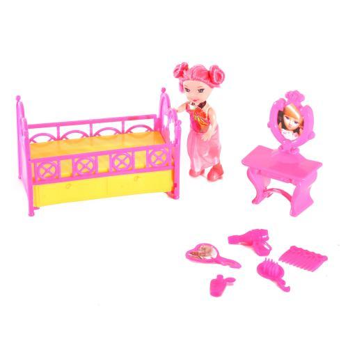 Кукла XM669-2 (140шт) 10см, кроватка, 12см, трюмо, XM669-2