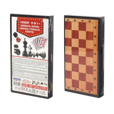 Набор 3 в 1+ шашки, шахматыи, нарды, игральные карты