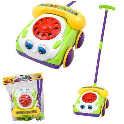 Каталка машинка-телефон, на палке, звук, двиг.глаза