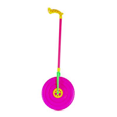 Каталка на палке, колесо 23см, трещотка, 3 цвета