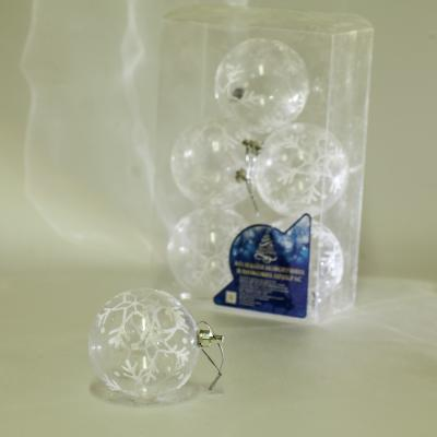 8587 Елочные шарики прозрачные 8см 6шт/кор (64кор)