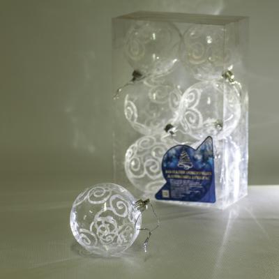 8590 Елочные шарики прозрачные 8см 6шт/кор (64кор)