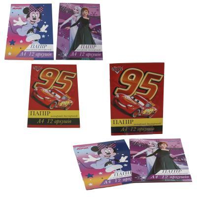 Бумага цветная А4, двусторонняя, 12 листов (цена за штуку)