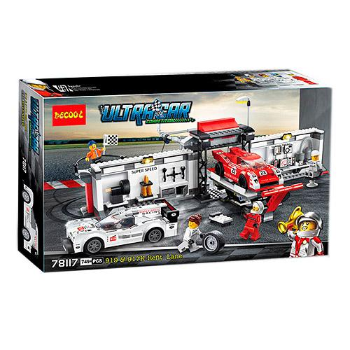 Конструктор  гонка, пит-стоп, машинка 2шт, фигур, 78117