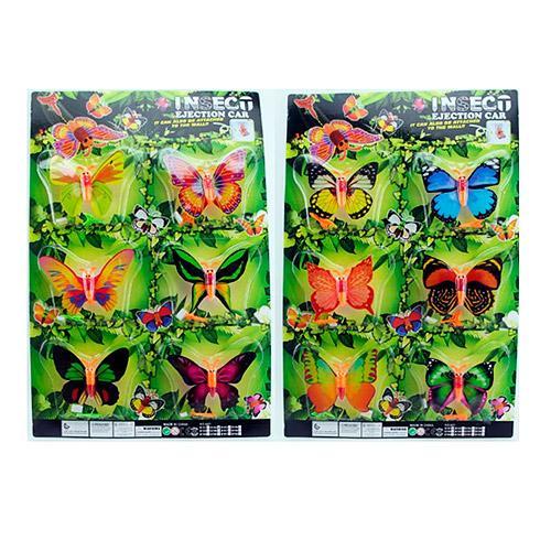 Насекомое бабочка,9см,на запуске, 2вида, 6шт(6видо, 607-B151-52
