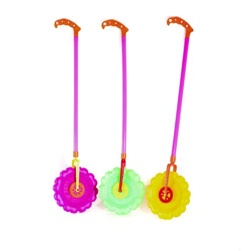 Каталка на палке, колесо, трещотка, 3цвета, в куль, 4679B