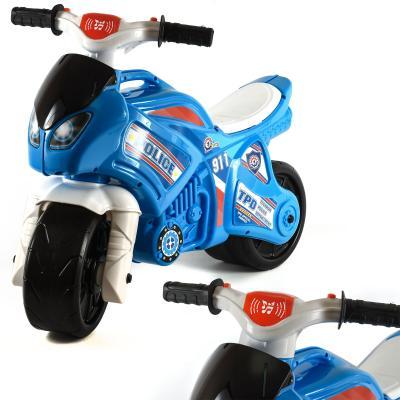 Мотоцикл бело-синий муз. в кульке