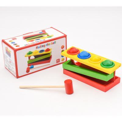 Деревянная игрушка стучалка,4 шарика,молоточек в к, SL-413-5