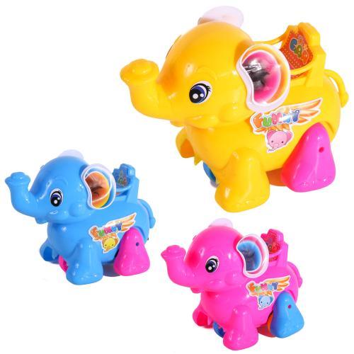 Заводная игрушка 0010 (240шт) слон 14см, 3цвета, в, 0010