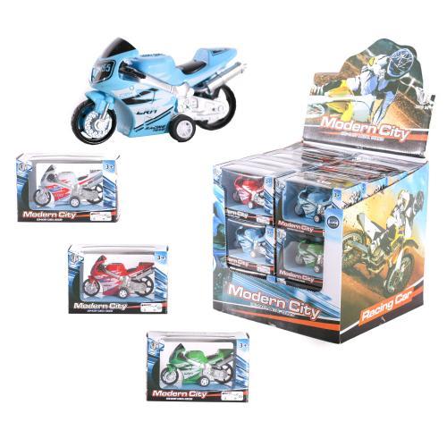 Мотоцикл 8538-24 (144шт) металл, инер-й, 9см,в ко, 8538-24