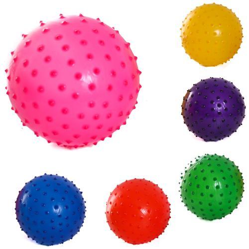 Мяч детский резиновый массажный,55гр,d=25см,6цвето, C 34565
