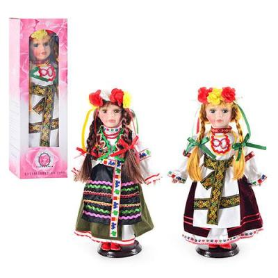 Кукла фарфор, на подставке, украиночка,2 вида.